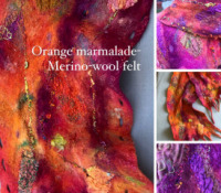 Orange Marmalade -Nuno felt merino wool-silk scarf