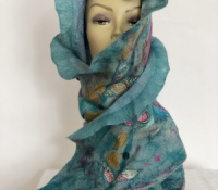 Nuno felt merino wool/silk wrap (SOLD)