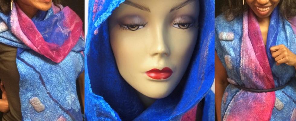 felted -nuno felt wrap-scarf